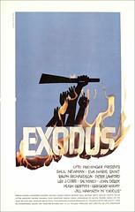El póster de 'Éxodo' y la bandera de Hezbollah