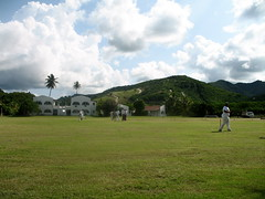 Cricket practice in Antigua – I was thinking of running a spot the ball competition.