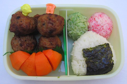 Meatball & onigiri lunch お弁当