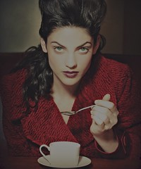 Green tea, green eyes and that bright red coat (TRIBEZA) photo by Andrew Shapter