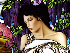 Mucha inspired , Figure paint detail photo by Stained Glass Painter / Jim M. Berberich