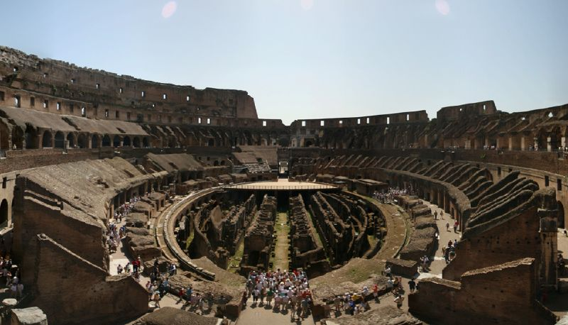 The Colosseum, Rome, inside view of the amphitheatre.
