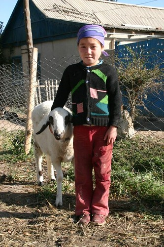 Kochkor girl with a sheep...