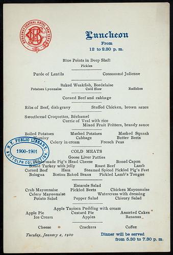 menu broadway central hotel 1900