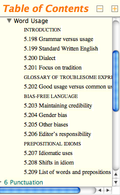 CMS table of contents