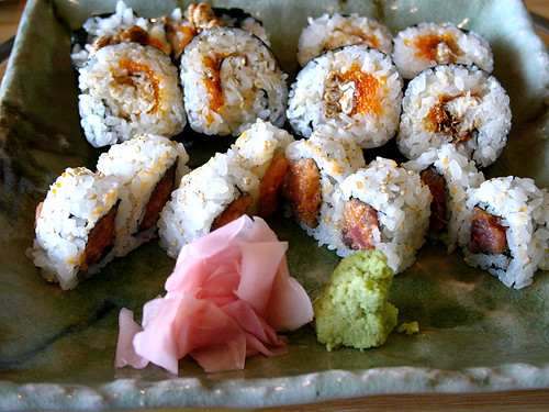 issin spicy tuna and spider soft shell crab rolls