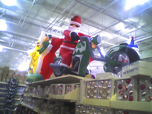 Classic Inflatable Santa riding a chopper with broken forks