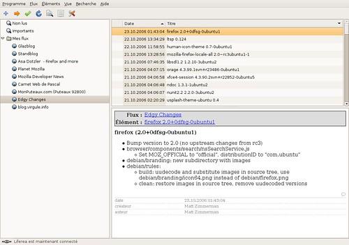 Flux RSS sur l'arrivée de Firefox 2.0 dans la Ubuntu Edgy Eft
