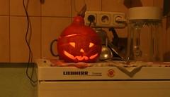Halloween Kürbis in der Küche
