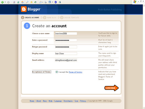 Blogger - Step 1 in Creating An Account
