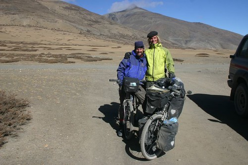 Rich and I just before the 4935m pass on the short-cut route south of Saga, Western Tibet...