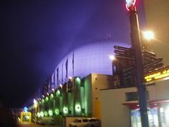 The Globen Stadion lit up at night