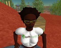 Ruby Glitter wearing RootsCamp t-shirt