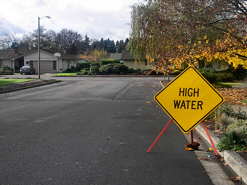 Really? Where? - a high water sign in Stayton Oregon
