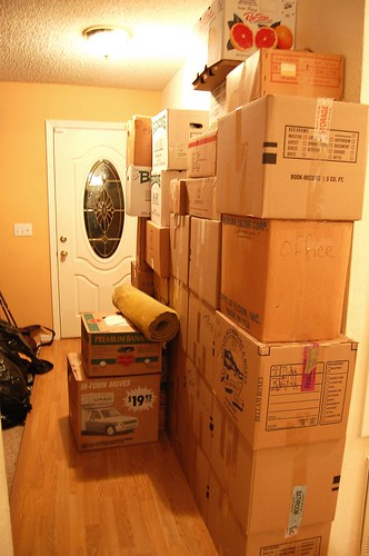 front door stacks of boxes