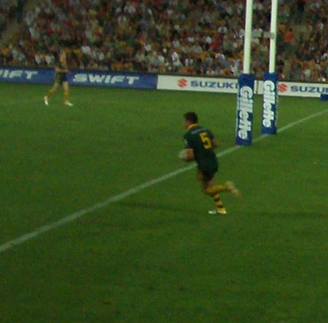 Greg Inglis runs the ball out of Australia's in-goal area - Kangaroos v British Lions Rugby League Test Match - Lang Park (Suncorp Stadium), Brisbane, Australia, November 18th 2006