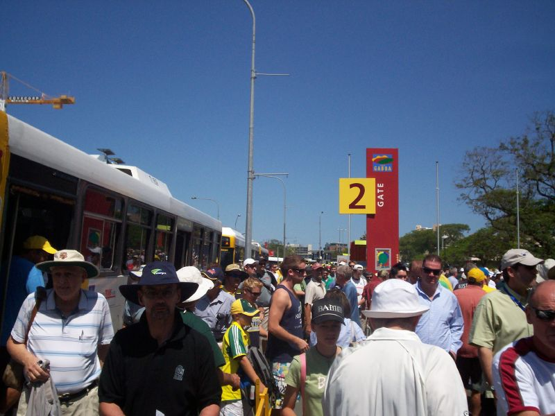 View getting off the bus outside the Gabba - The Ashes 2006-7 - First Test - Atmosphere in town, outside the Gabba, and watching the game on a big screen at the 'beach' in Southbank.