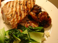 tuna with cipollini onions and baby bok choy