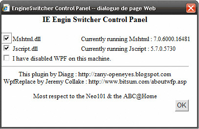 IE switch engine panel