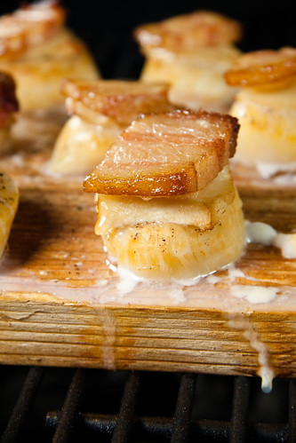 Planked Scallops with Ginger & Bacon