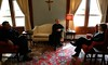 """Elizabeth Edwards Talks With Fr. Jonathan and Fr. Augustine Prior to the """"Face the Nation"""" Broadcast"""