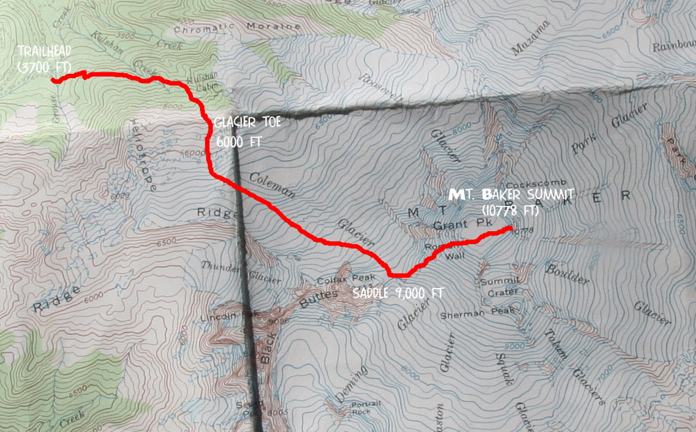 Mt Baker ColemanDeming Glacier Trip Reports SummitPost - Us map baker peak