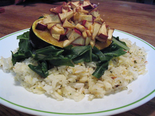 Apple and pine nut stuffed winter squash + herbed rice + steamed chard