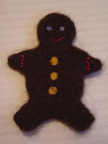 felted gingerbread man