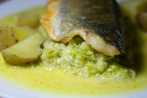 Seabass on a bed of creamed leeks, ginger and garlic