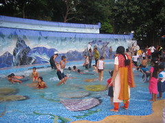 Kids playing in the pool at Lumbini Park