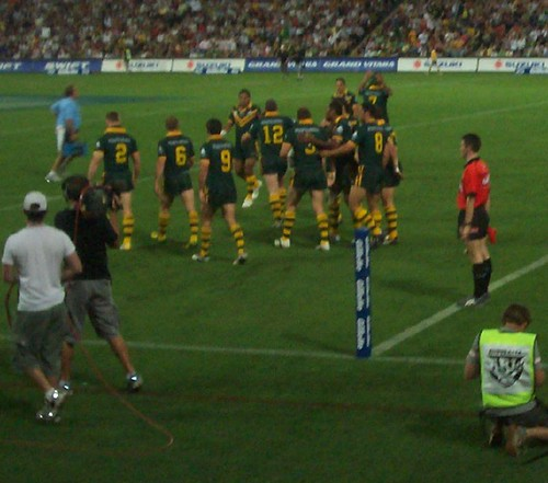 Kangaroos move back after Mark Gasnier's try - angaroos v British Lions Rugby League Test Match - Lang Park (Suncorp Stadium), Brisbane, Australia, November 18th 2006