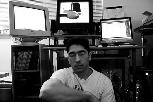 Self-Portrait in front of my Linux and Windows Computers