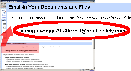 email to create document on Google Docs