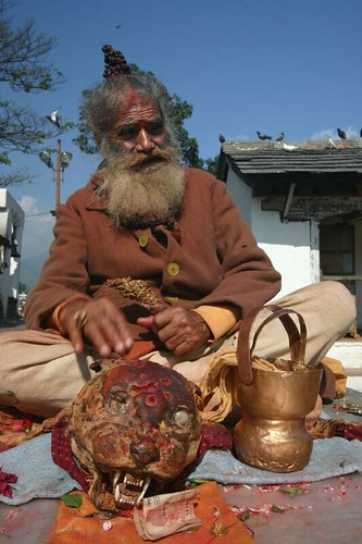 Sadhu (with a leopard skin) in Pokhara.