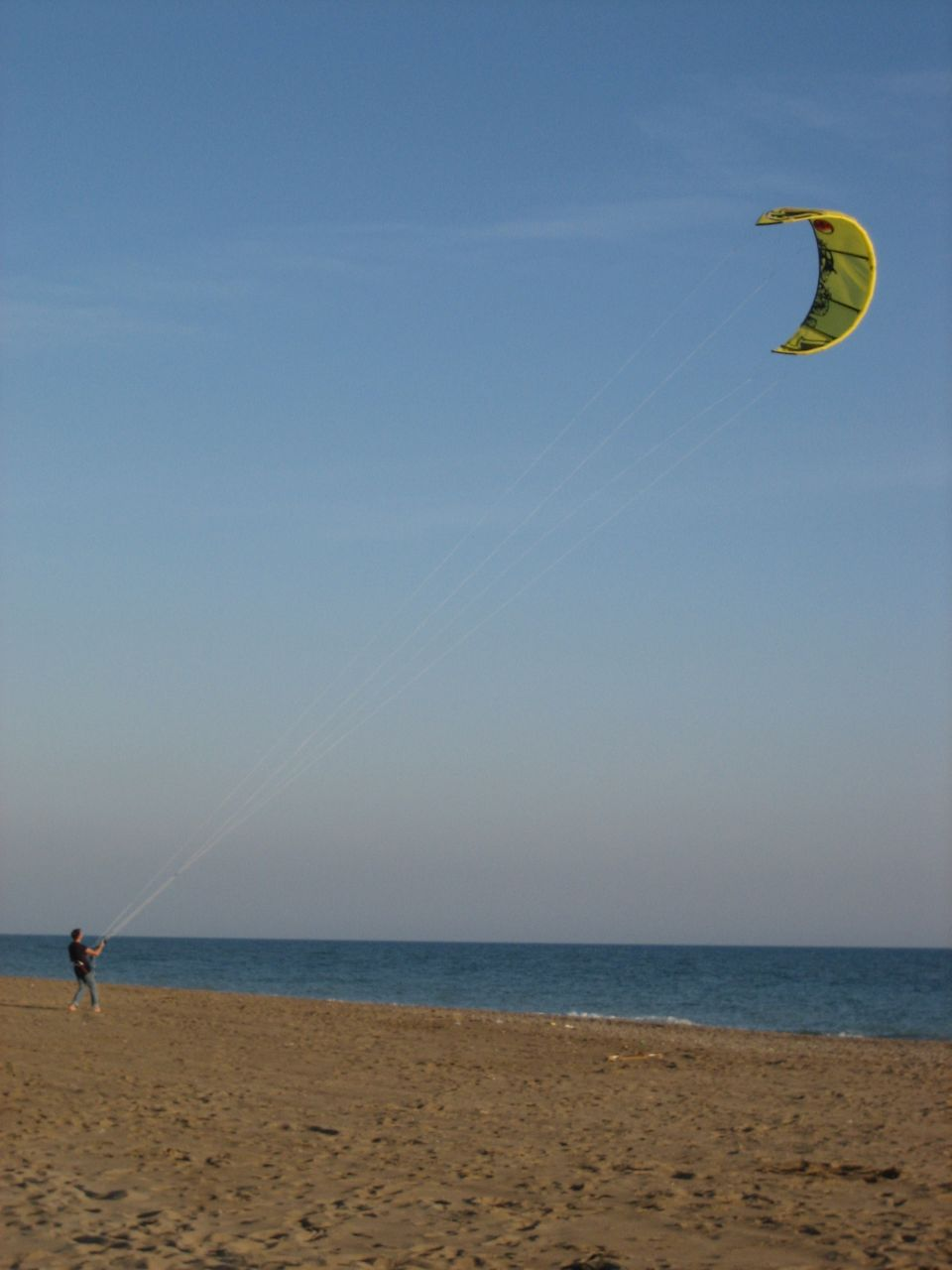 Kite surf practising on the beach