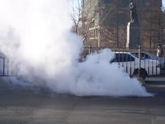 Blowing steam