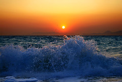 wave and sunset photo by ester-**
