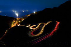 Light trails on the S curve road, Jioufen, Taiwan photo by Fishtail@Taipei