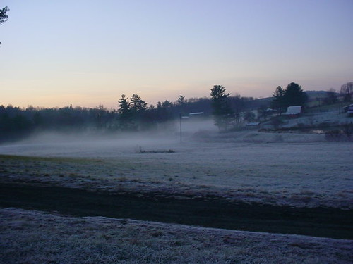 Mist on the frosty fields