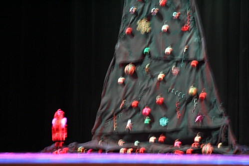 Blurry tree and nutcracker