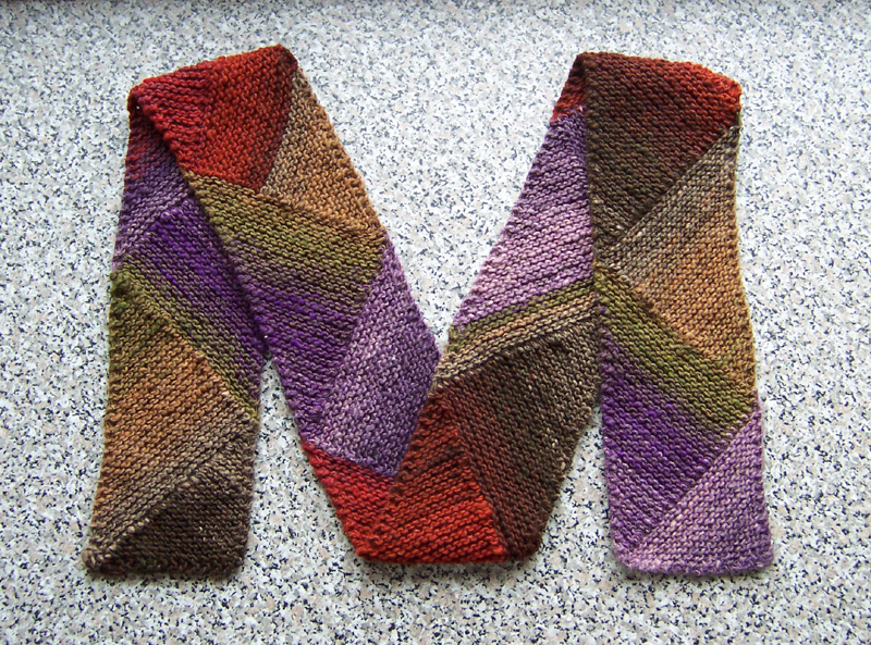 Diagonal Knit Scarf Pattern : Knit one, Purr... too: M For Multidirectional Diagonal Scarf