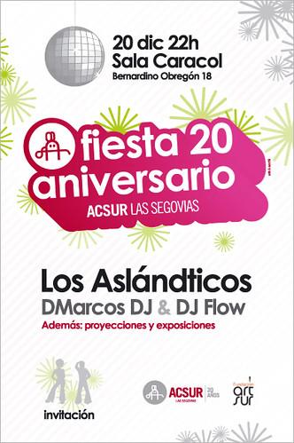 Fiesta 20 aniversario de Acsur. Actúan Los Aslandticos y pinchan DMarcos DJ y DJ Flow
