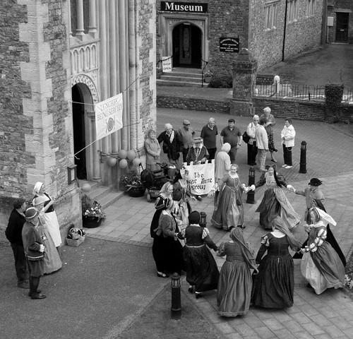 strange dancing at 750 years of honiton market