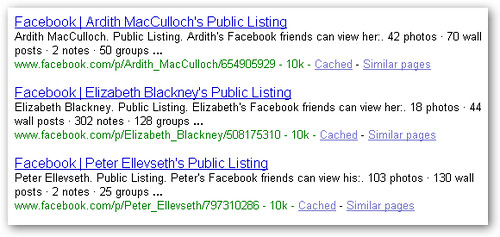 facebook profiles on google