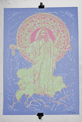 Jesus Silk Screen Print, Lights On photo by Mulšk