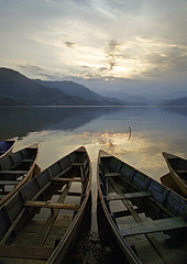 Nepal, Pokara, Fewa Tal lake, after the rain with boats photo by Spkennedy3000 - Architectural Photographer