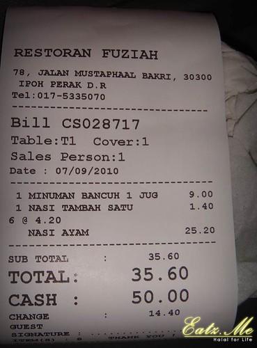 Nasi Ayam Fuziah Ipoh Price