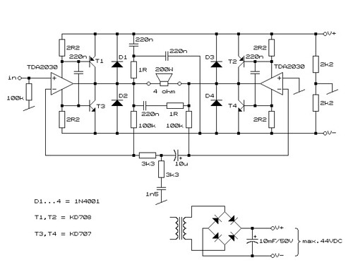 electronic circuits  schematics  and datasheet  simple 200w amplifier with tda 2030 hifi chip