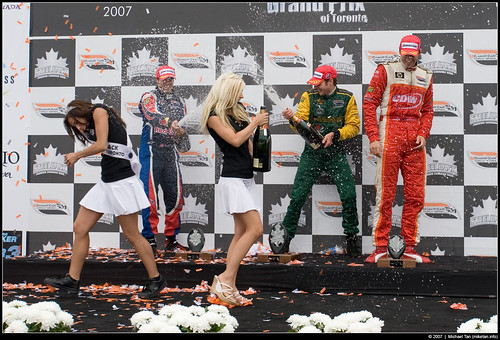Champ Car podium - Will Power, Neel Jani, Justin Wilson