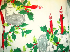 Vintage Christmas Table Cloth